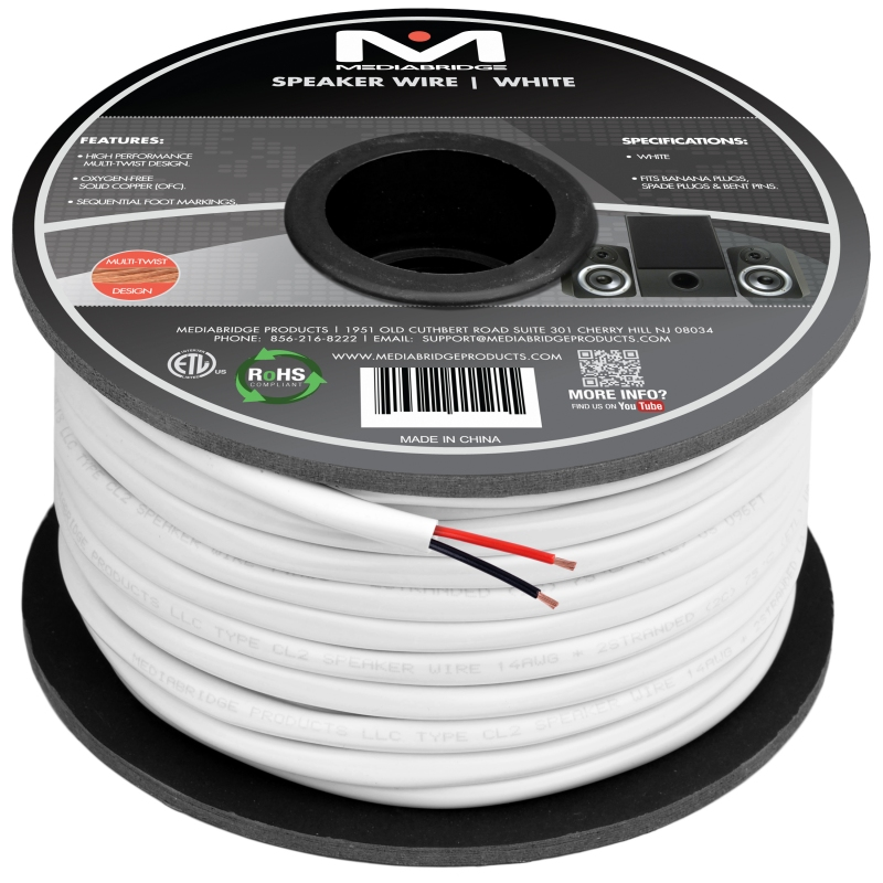 2-Conductor Speaker Wire - 99% Oxygen Free Copper - ETL Listed & CL2 Rated for In-Wall Use (14 Gauge - 100 Feet)