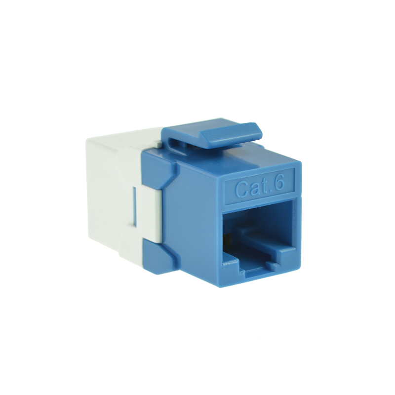 Cat6 Keystone Jack Coupler (Blue) - RJ45 In-Line Insert for Keystone Wall Plate - 10 Pack (Part# 51J-C6C-BLU-10P ) 10 Pack