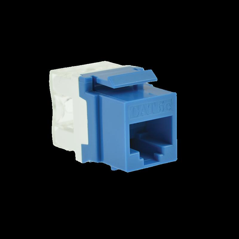 Cat5e Keystone Jack (Blue) - Punch-Down RJ45 Insert for Keystone Wall Plate - 25 Pack (Part# 51J-C5-BLU-25PK ) 25 Pack