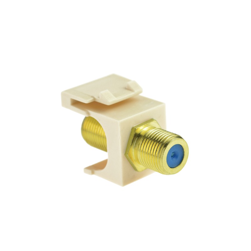 Coaxial Keystone Jack (Almond) - Gold-Plated RG6 Insert for Keystone Wall Plate - 5 Pack (Part# 51J-F81-WH-5PK ) 5 Pack
