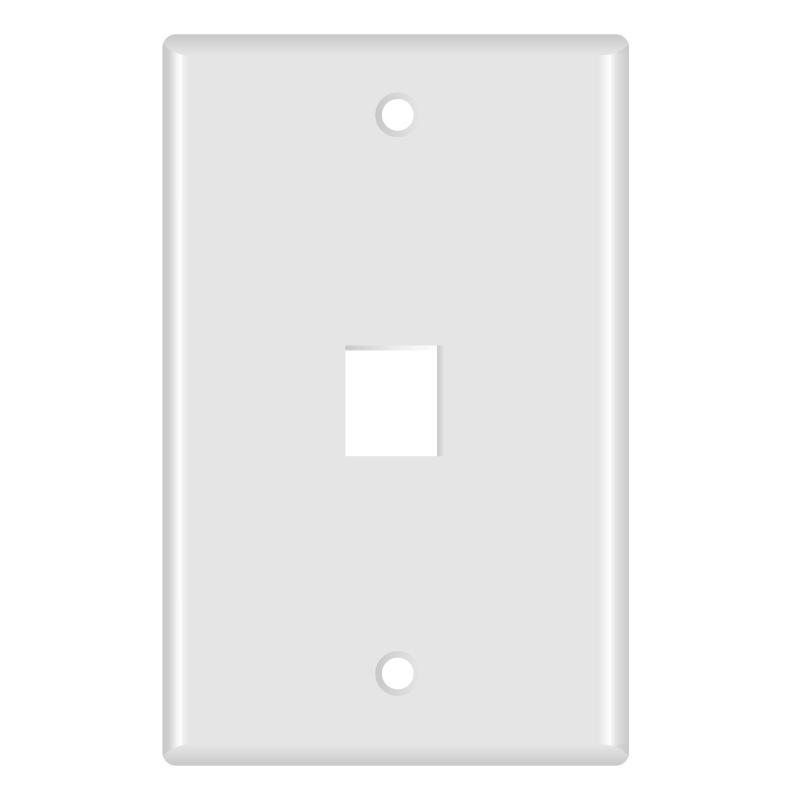 Keystone Wall Plate (1-Port, White) - 5 Pack (Part# 51W-101-5PK ) (1-Port) 5 Pack