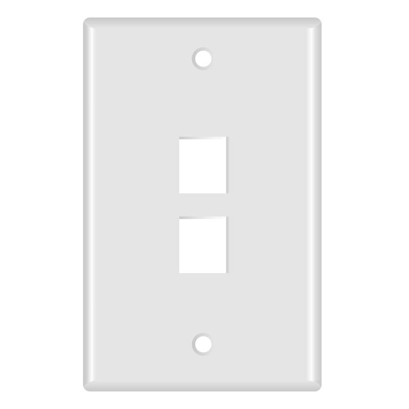 Keystone Wall Plate (2-Port, White) - 5 Pack (Part# 51W-102-5PK ) (2-Port) 5 Pack