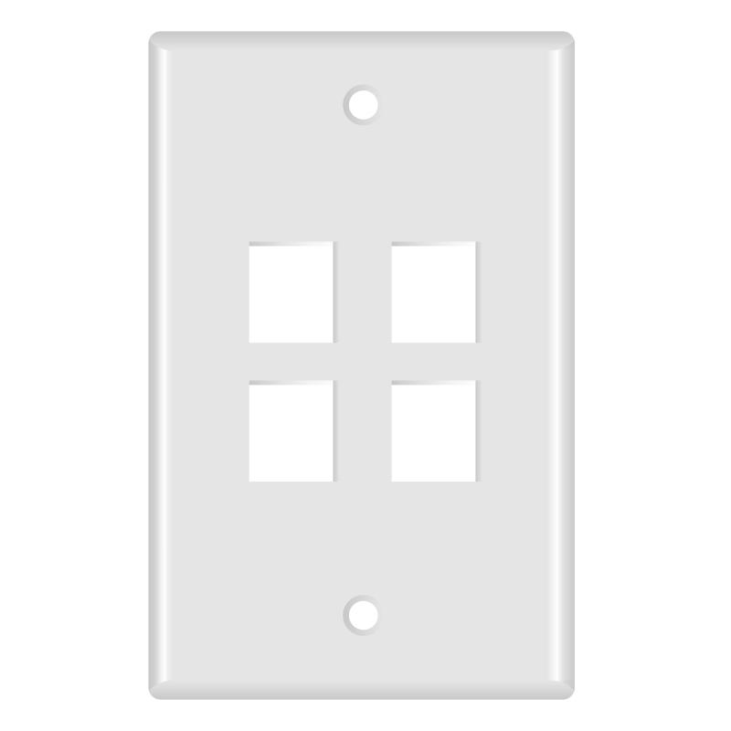 Keystone Wall Plate (4-Port, White) - 5 Pack (Part# 51W-104-5PK ) (4-Port) 5 Pack