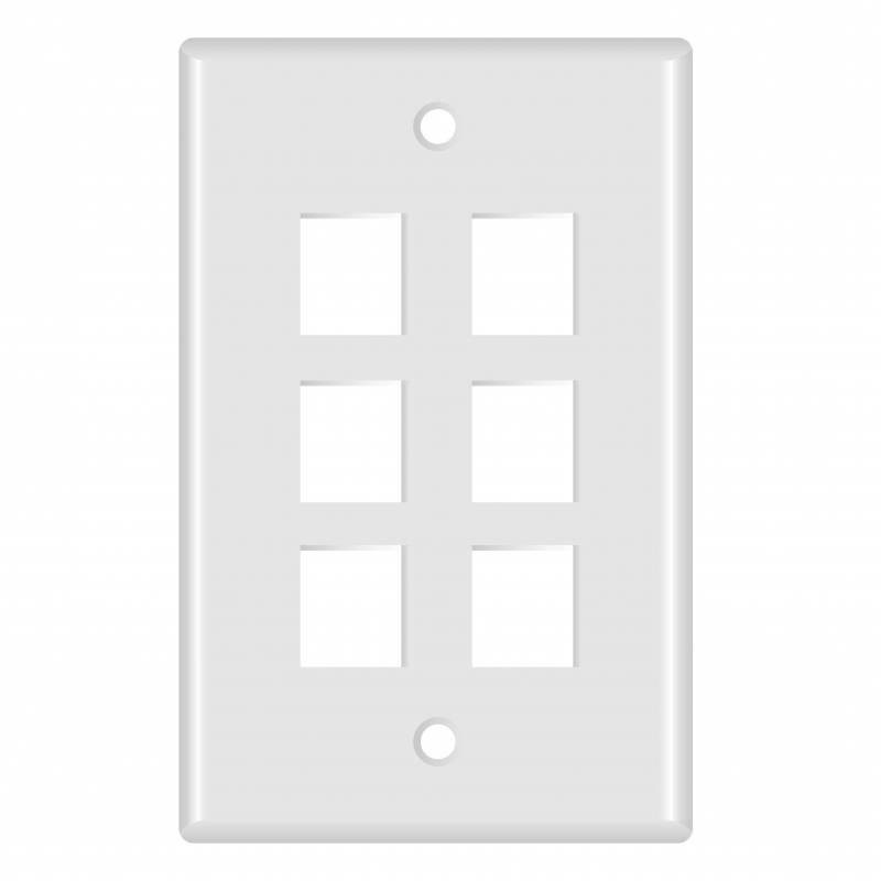Keystone Wall Plate (6-Port, White) - 5 Pack (Part# 51W-106-5PK ) (6-Port) 5 Pack