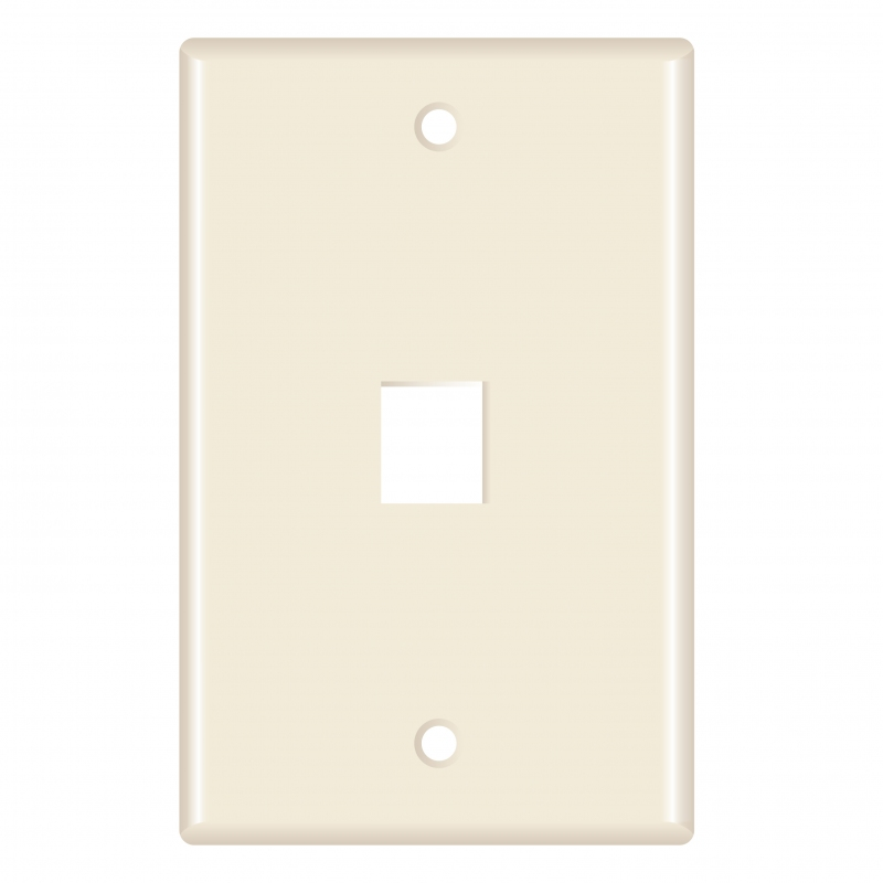 Keystone Wall Plate (1-Port, Almond) - 5 Pack (Part# 51W-201-5PK ) (1-Port) 5 Pack