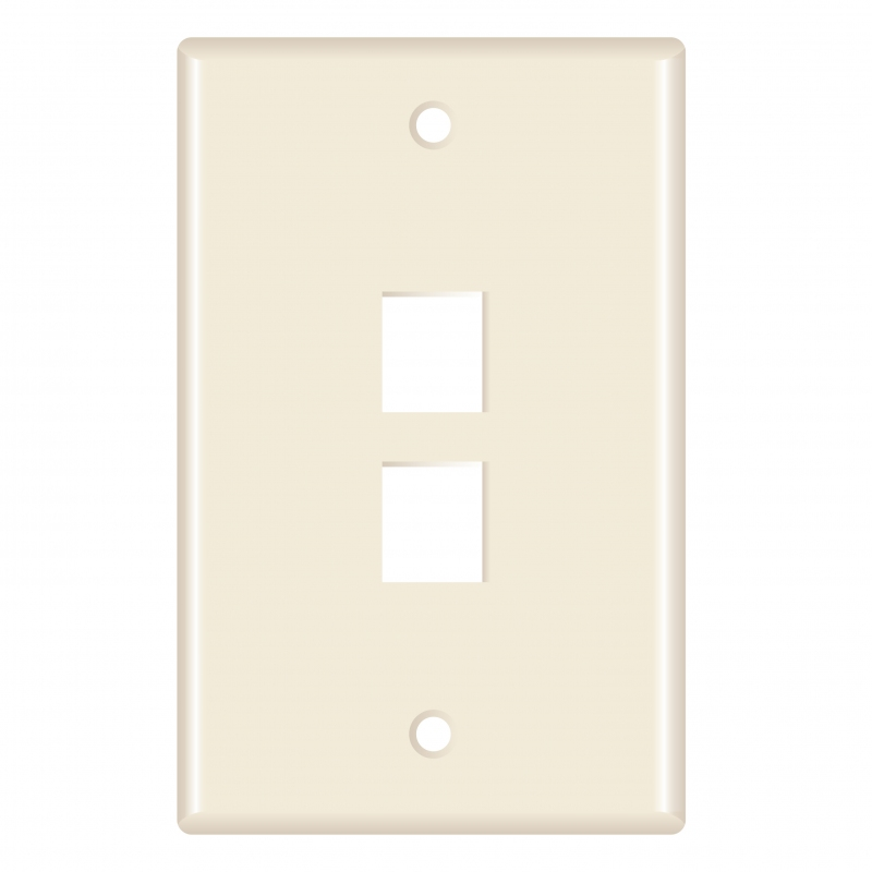 Keystone Wall Plate (2-Port, Almond) - 5 Pack (Part# 51W-202-5PK ) (2-Port) 5 Pack
