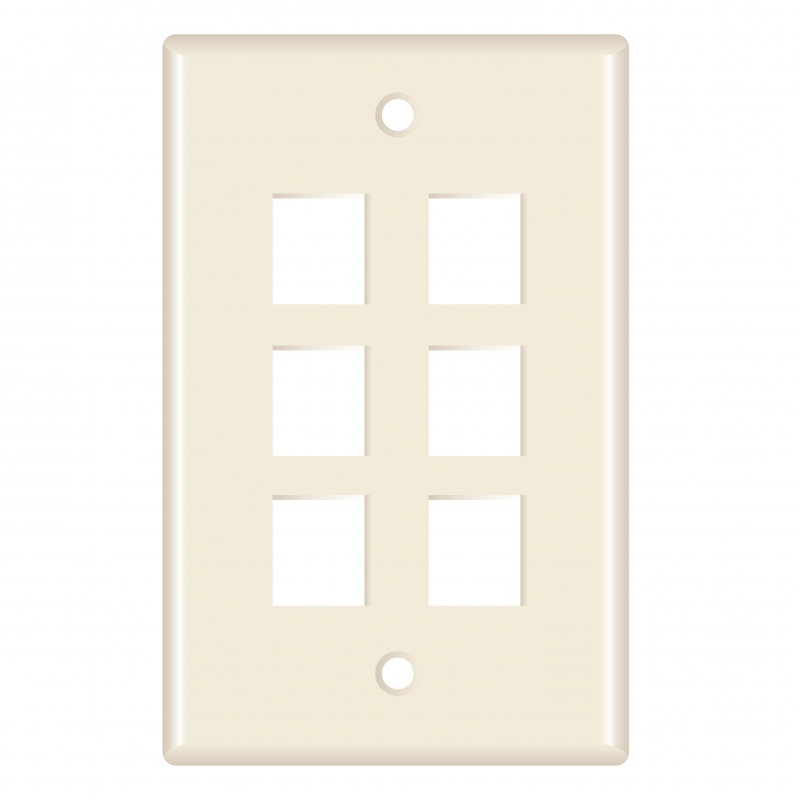 Keystone Wall Plate (6-Port, Almond) - 5 Pack (Part# 51W-206-5PK ) (6-Port) 5 Pack