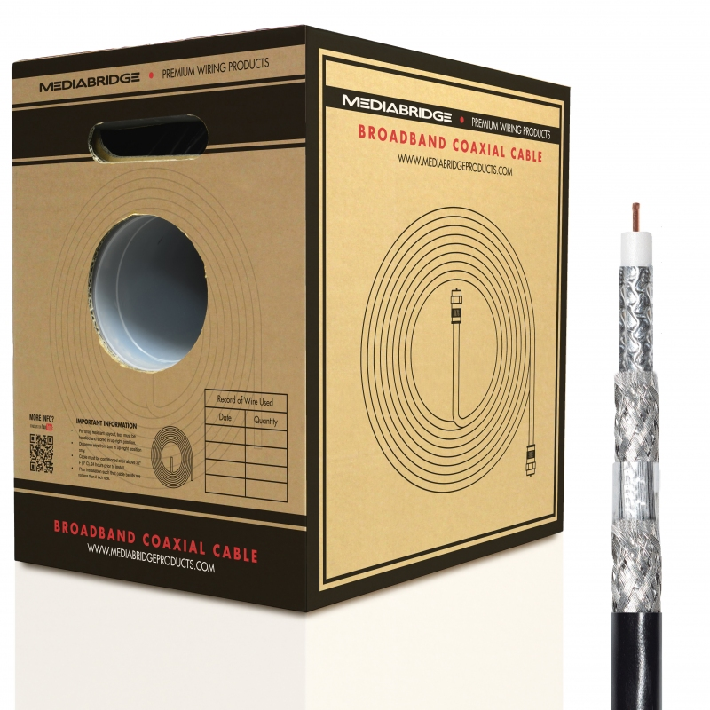 RG6 Quad Shielded Coaxial Cable (250 Feet) - w/ Convenient Pull-Out Box (250 Feet)