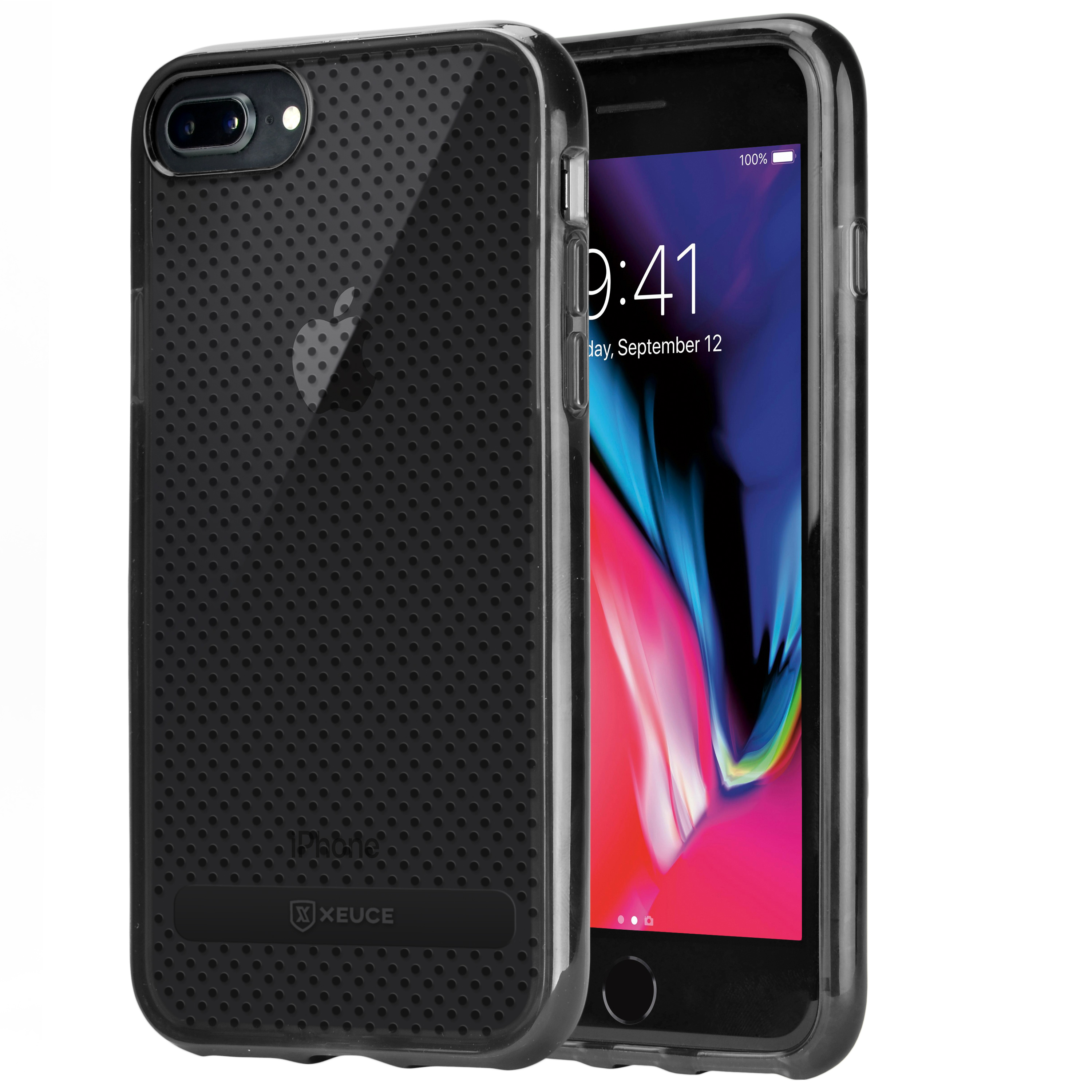 new arrival 2b171 37fce XEUCE iPhone 7 Plus / iPhone 8 Plus Slim Fit Case (Smoky Black)  Scratch-Resistant Protective Case (Part# PC13-I8+-BLA )