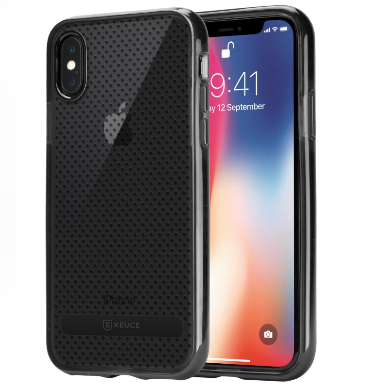 XEUCE iPhone X / iPhone Xs Slim Fit Case (Smoky Black) Scratch-Resistant Protective Case (Part# PC13-IX-BLA )