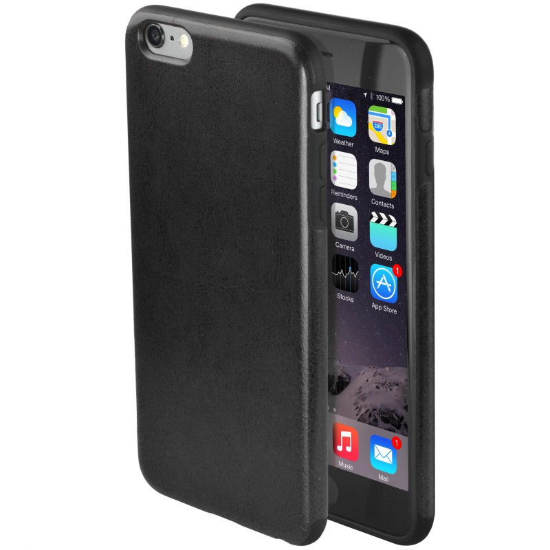 Premium Synthetic Leather iPhone 6 Plus Case - Black (Black)